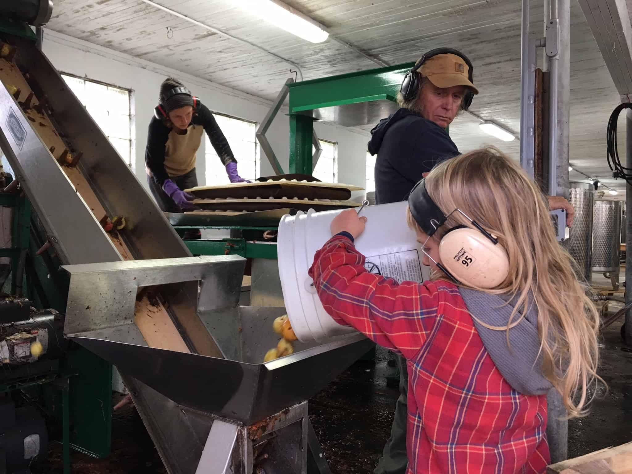 Taking turns on the press crew at Eve's Cidery