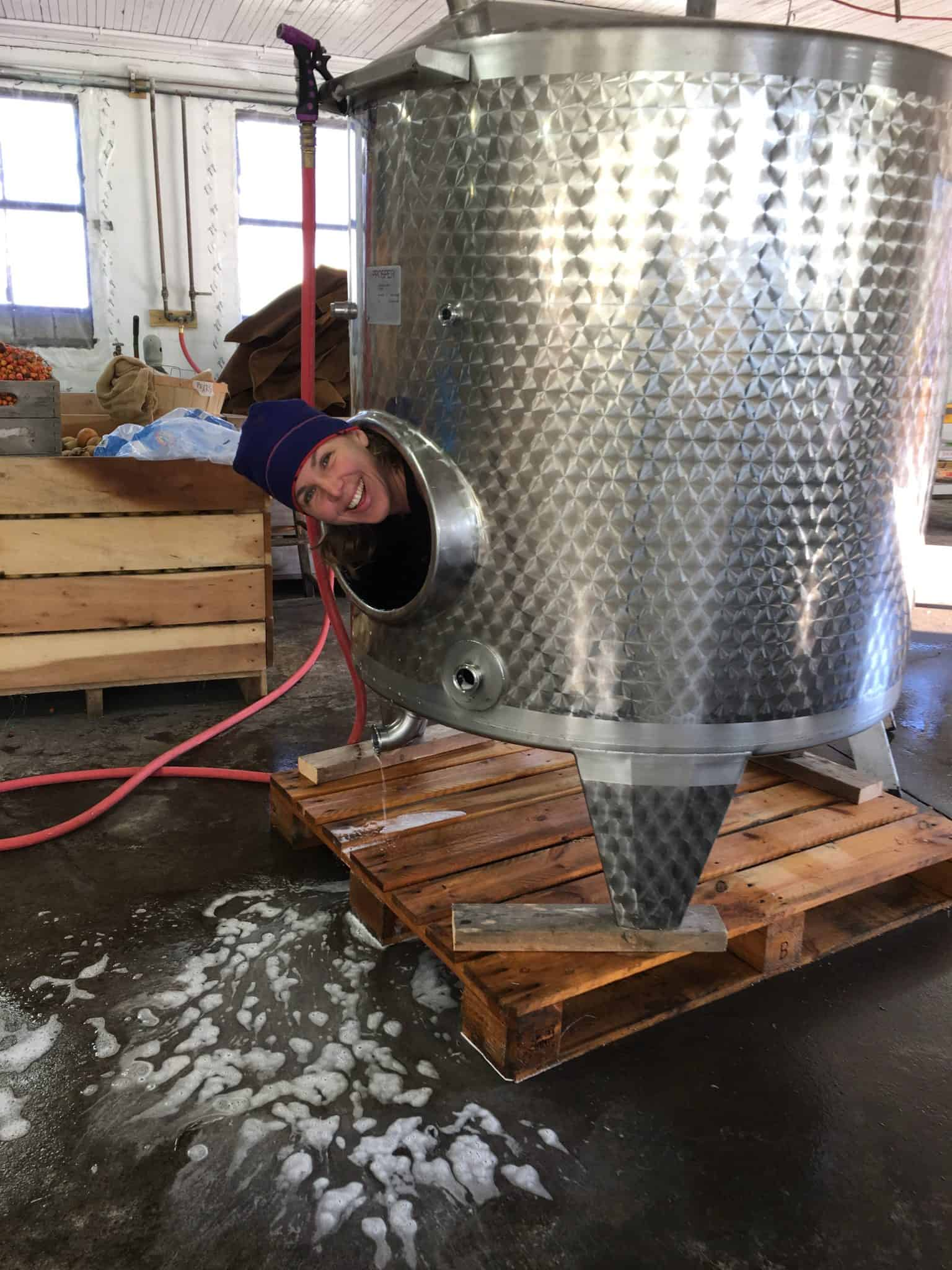 Washing tanks in the cidery.